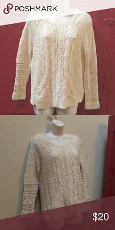 Lucky Brand sweater Cream colored sweater.  Very good used condition. Lucky Brand Sweaters