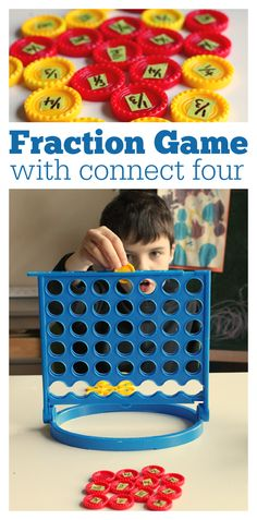Connect 4 Fraction Game - This is such a fun, hands on math game for kids to practice fractions. Teaching Fractions, Math Fractions, Teaching Math, Equivalent Fractions, Multiplication Practice, Maths, Fraction Games For Kids, Math For Kids, Math Games