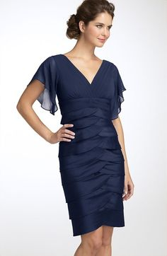 Free shipping and returns on Adrianna Papell Flutter Sleeve Tiered Dress at Nordstrom.com. Laser-cut layers of taffeta overlap to form the skirt of an elegant dress with a double V-neck. Chiffon bodice flatters with a surplice front and sheer flutter sleeves.