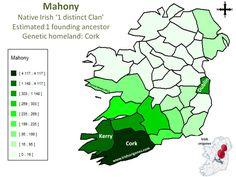 Mahony   Irish Origenes: Use Family Tree DNA to Discover Your Genetic Origins   Clans of Ireland   Irish Surnames Map