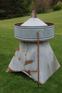 Antique Architectural Old Barn Cupola Salvage Galvanized Tin Roof Vent Garden