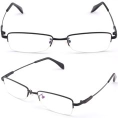 Half Rimless Men Women Bendable Memory Titanium Frame Photochromic Glasses Black #Unbranded