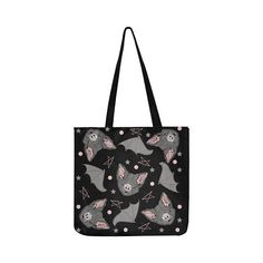 BATBAT LOVE Tote Bag - Gothic Kawaii Sweet Bat Pink Black Dark Occultism Goth Magic Witchcraft Witch Princess stars Harajuku Pastel