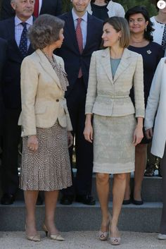 Queen Letizia  and Queen Sofia attended an audience with the communication media of FAD (Foundation Against Drug addiction) at the Zarzuela Palace on September 29, 2015 in Madrid, Spain.