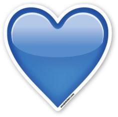 Emojis de whatsapp ,corazón azul y en varios colores