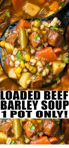Quick and easy beef barley soup recipe, made with simple ingredients in one pot. A weeknight meal loaded with Italian seasoning, vegetables, tender beef. Slow Cooker Recipes, Cooking Recipes, Crockpot Recipes, Cooking Tips, Cooking Bacon, Beef Barley Soup, Snacks Sains, Healthy Soup Recipes, Beef Broth Soup Recipes