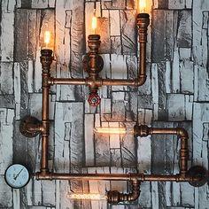 5 têtes nouvelle mode wroguht fer paroi de la conduite D'eau lampe plafonniers d'allée cru loft mur de fer lampe edison à incandescence lumière ampoule dans LED Intérieur Mur Lampes de Lumières et Éclairage sur AliExpress.com | Alibaba Group