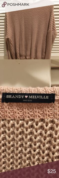 Brandy Melville Sweater Blush-pinkish knitted sweater. Super comfy and cute. only worn a few times. Make an offer! (on 1 of the shoulders there is a small area where the threading is a bit messed up but it isn't noticeable when worn!! It wont come undone) Brandy Melville Sweaters