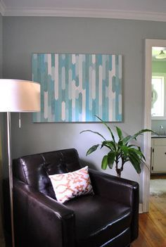 Make this painting with a ruler and spare wall paint