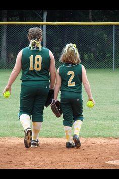 Sister softball. Hefty lefty and Mighty righty!