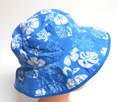 f5fe924070a Baby Banz Bucket Hat Reversible Sea Turtle Blue Adjustable Unisex Polyester