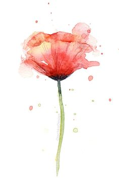 Red Poppy Watercolor, Flower Art Print, Poppies, Atmospheric Watercolor Painting, Floral Print, Giclee Quality