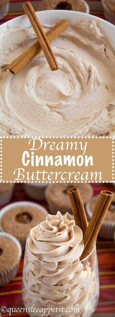 A light, fluffy, and dreamy Cinnamon Buttercream Frosting. Perfect for frosting cakes, cupcakes, and more!
