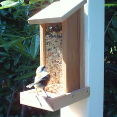 Wooden Bird Feeder, Cedar Bird Feeder, Recycled Wood, Post Mount Or Wall Mount