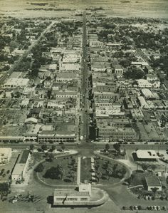 Fremont St, downtown Las Vegas, 1949. In the foreground is the Union Pacific station at Main Street, currently the site of the Plaza Hotel.