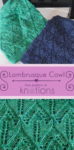Free pattern for a knit cowl in a simple lace pattern. Both written and charted, the design is accessible to most people and uses under 300 yards of yarn.