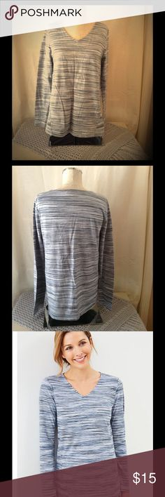 """Pure Jill space-dyed tee 100% cotton shirt, with side insets and a horizontal front waist seam. The best part in my opinion is the on-seam pockets. It is a low hip length shirt: M26 1/2, P25"""", W 28"""". This v neck tee is easy to dress up or down. The shirt has two tiny holes on the right shoulder. If interested in more pix, feel free to contact me via email carrilloflor@aol.com. Follow me on Instagram flormorena33 for inspiration and pictures. Pure Jill Tops Tees - Long Sleeve"""