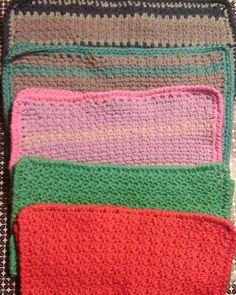 Hæklede vaskeklude i væve hækling og grums mønster lavet af Frøken Davidsen