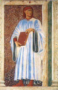 Andrea del Castagno, Giovanni Boccaccio, particolare del Ciclo degli uomini e donne illustri, affresco, 1450, Galleria degli Uffizi, Firenze