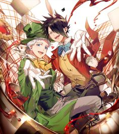 Norman as Mad Hatter and Ray as White Rabbit Anime Guys, Manga Anime, Anime Art, Mad Hatter Anime, Norman, Hxh Characters, Manga Books, Film D'animation, Estilo Anime