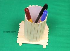 Popsicle+Stick+Candle+Holder+Craft | for popsicle stick pen holder craft cardstock white popsicle sticks ...