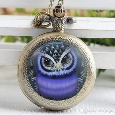 Encontra o melhor azul coruja relógio de bolso colar de vidro arte foto coruja colar pingente de relógio de bolso coruja em preço de venda por atacado de relógios de bolso fornecedores Chineses zhangfugui em pt.dhgate.com.