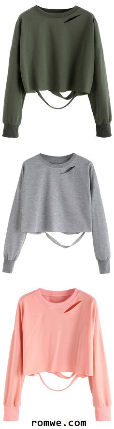 Drop Shoulder Cut Out Crop T-shirt