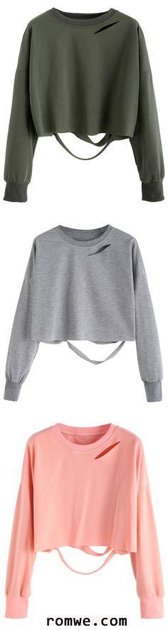Drop Shoulder Cut Out Crop T-shirt