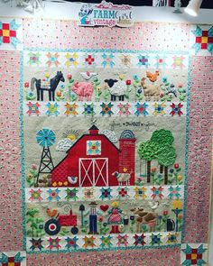 At Quilt Market and saw Farm Girl Vintage I the booth This quilt is just adorable Baby Boy Quilt Patterns, House Quilt Patterns, Cute Quilts, Boy Quilts, Girls Quilts, Houston Quilt Show, Colorful Quilts, Animal Quilts, Panel Quilts
