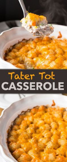 Kids Meals Tater Tot Casserole is a fun recipe that is easy to make and a one-dish meal that is most definitely kid-approved! - Tater Tot Casserole is a fun recipe that is easy to make and a one-dish meal that is most definitely kid-approved! Tater Tot Casserole, Tater Tots, Casserole Dishes, Casserole Recipes, Tatertot Casserole Recipe, Potato Tots, Burrito Casserole, Stuffing Casserole, Hamburger Casserole