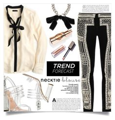 """Fall Trend: Necktie Blouse"" by dolly-valkyrie ❤ liked on Polyvore featuring J.Crew, Balmain, Alexander McQueen, Aperlaï and falltrend"
