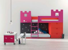 Modern castle bunk bed with chalk board wall!