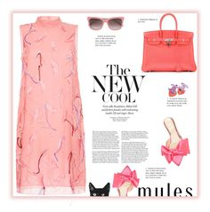 """""""The New Cool   Mules"""" by fassionista ❤ liked on Polyvore featuring Emilio Pucci, Charlotte Olympia, BOSS Hugo Boss, Chanel, Amanti Art, Hermès, Pink, coral, pastel and mules"""