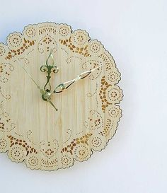 rustic cottage chic bamboo doily clock with brass by uncommon, $36.00