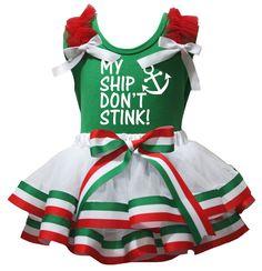 Petitebella My Ship Don't Stink Green Shirt RWG Striped Petal Skirt Nb-8y (3-12 Months). product includes: a skirt, a shirt. made by lightweight material. stretchy and comfortable cotton shirt. 4-layers fantastic skirt. outfit in My Ship Don't Stink design.