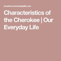 Characteristics of the Cherokee   Our Everyday Life
