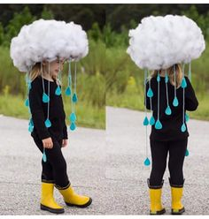 Raindrops keep falling on my head. Easy Halloween Decorations, Halloween Crafts For Kids, Holidays Halloween, Spooky Halloween, Halloween Party, Homemade Halloween Costumes, Crazy Hats, Halloween Disfraces, Science Costumes
