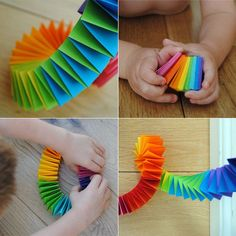 Mini Rainbow Garland- so simple to make! I could do this for Elizabeth's birthday party! Mini Rainbow Garland (Use the triangles left from cutting out for a sewn garland!) maybe for a holiday party This simple garland is easy to make and can be used anywh Kids Crafts, Easy Crafts, Diy And Crafts, Craft Projects, Arts And Crafts, Origami Paper, Diy Paper, Paper Art, Paper Crafts
