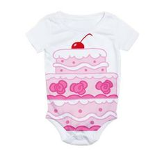 Pink Kids Cake All Over Print Bodysuit