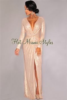 Champagne Sequined Knotted Front Gown Womens clothing clothes hot miami styles hotmiamistyles hotmiamistyles.com sexy club wear evening  clubwear cocktail party kim kardashian dresses