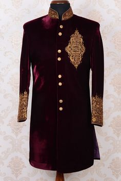 Men's New Stylish Grooms Wedding Party Wear Slim Fit Sherwani Kurta Pajama Wedding Dresses Men Indian, Groom Wedding Dress, Indian Wedding Wear, Groom Dress, Wedding Suits, Men Dress, Punjabi Wedding, Indian Weddings, Wedding Couples