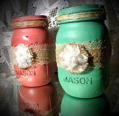 Painted mason jar wedding decor shabby chic decor - in wedding colors? Wrought Iron Wall Decor, Metal Wall Decor, Mason Jar Projects, Mason Jar Crafts, Chic Wedding, Wedding Ideas, Wedding Colors, Dream Wedding, Painted Mason Jars
