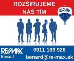 Pracovná príležitosť alebo život bez hraníc?  Viac informácií >> http://www.remax-slovakia.sk/reality/re-max-benard/volna-pozicia-realitny-makler/