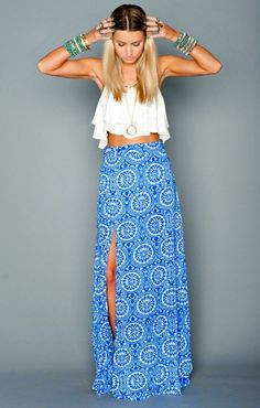 WoW!! White Sleeveless Mini Blouse With Printed Side Cut Long Skirt