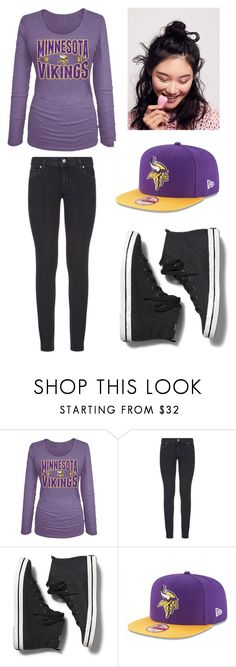 """""""Minnesota Vikings"""" by lesley-danae-2003 on Polyvore featuring 5th & Ocean, Paige Denim, Keds, New Era and Free People"""