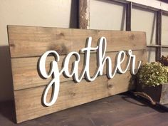 Sign-Wood Sign - Pallet Sign-farmhouse decor- Gather Sign - Gather - Dining Room Sign - Custom h Diy Home Decor Rustic, Home Decor Signs, Room Signs, Unique Home Decor, Home Decor Items, Farmhouse Decor, Farmhouse Signs, French Farmhouse, Country Farmhouse