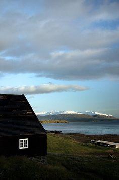 black cabin Hofsós harbour, Skagafjörður, Iceland