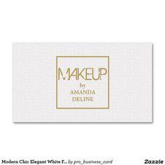 Modern Chic Elegant White Faux Gold Makeup Artist Business Card