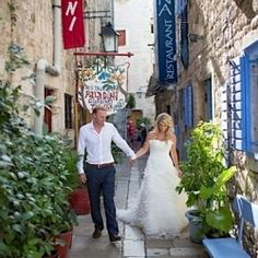This couple was married on a Croatian island- with scenery that makes you think they're in the tropics! With Sarah Falugo Photography.