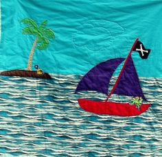 folk quilt applique quilt pirate quilt by marylandquilter on Etsy, $75.00